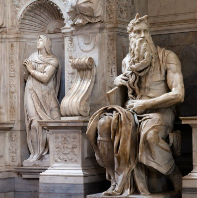 moses san miguel From the 12th century, moses is occasionally shown with horns (eg claus sluter   michelangelo, tomb of pope julius ii, 1513-16, san pietro in vincoli, rome.