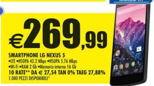In offerta a 269,99 euro lo smartphone google Nexus 5 16GB