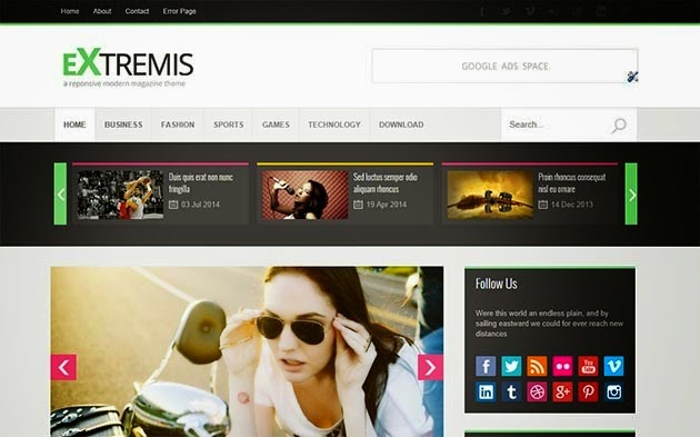 Extremis Responsive Blogger Template