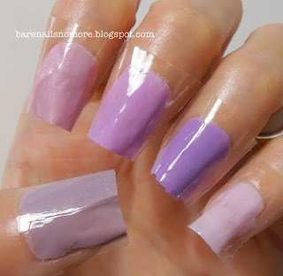 Comparison of lavender/pink polishes