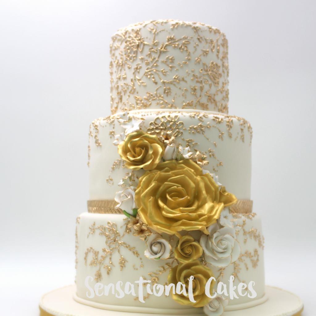 The Sensational Cakes: White Gold Wedding Cake Singapore ...