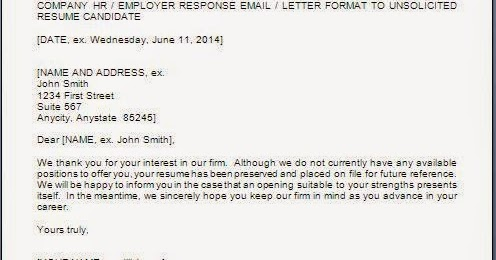 every bit of reply letter for unsolicited resume