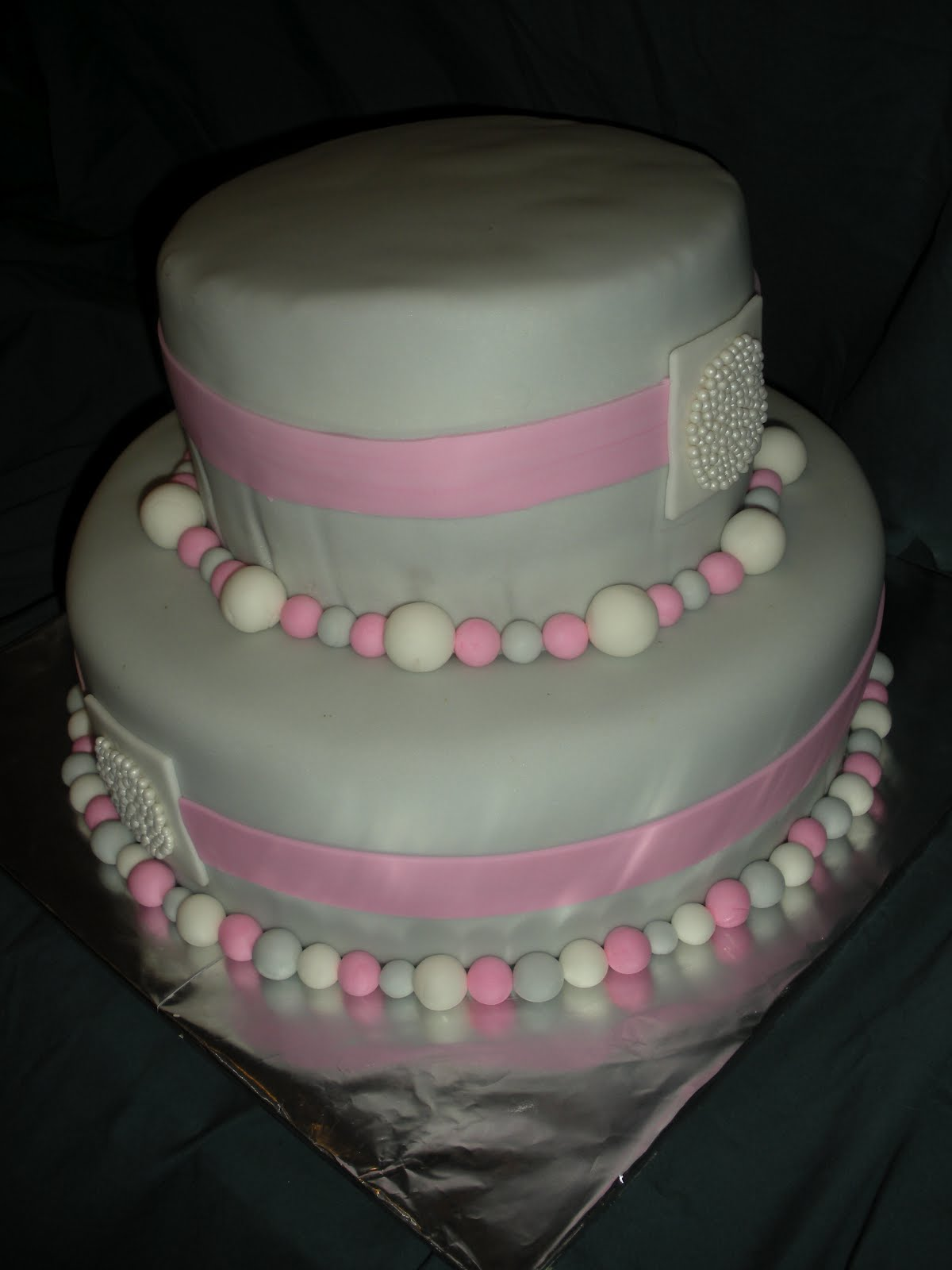 beachy cakes pink gray baby shower