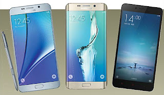 From left, the Galaxy Note 5, Galaxy S6 Edge Plus, and Xiaomi's Redmi Note 2 (english.chosun.com)