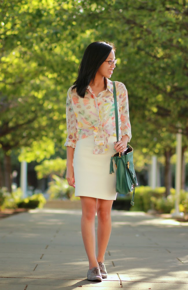 spring summer casual pencil skirt outfit ivory