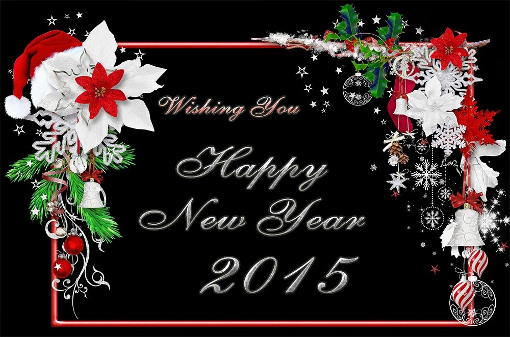 Flowers Happy New Years Wishes 2015 Clock eCard Images