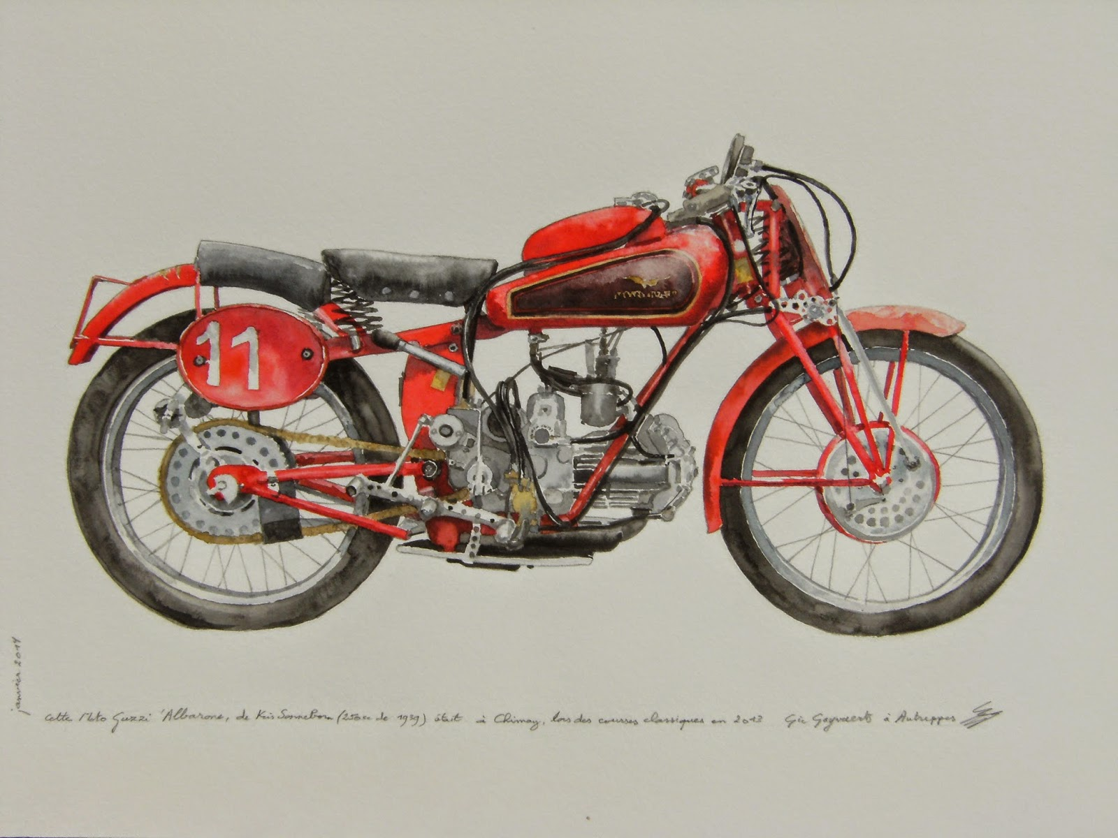 1939 Moto Guzzi Albarone watercolour
