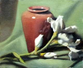 Oil painting of a bunch of plastic white lilies in front brown-red vase, with a green drapery as background.