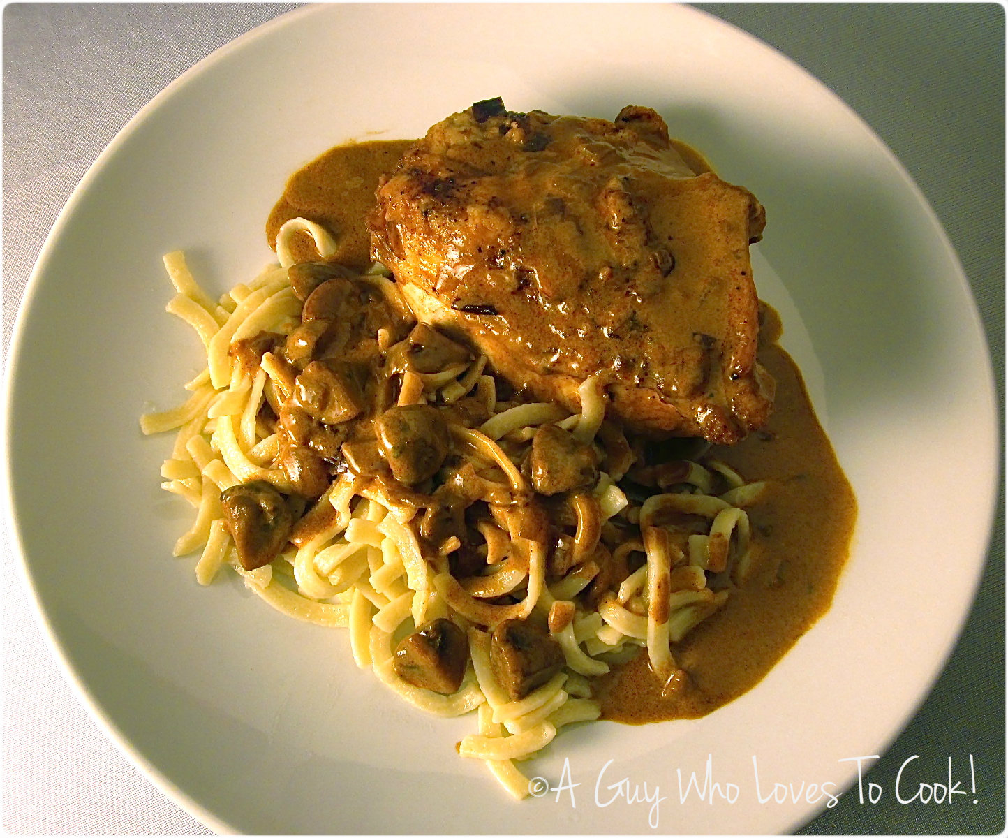 Braised Chicken Paprikash with Kluski Noodles