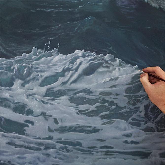 Pinturas de olas hiperreal de la naturaleza por Joel Rea
