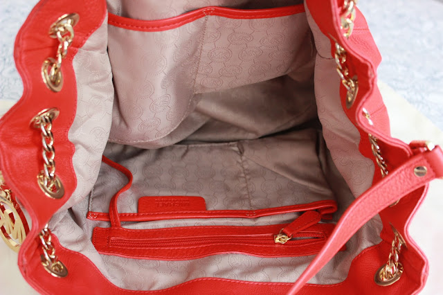 Blog sale red Michael Kors handbag interior