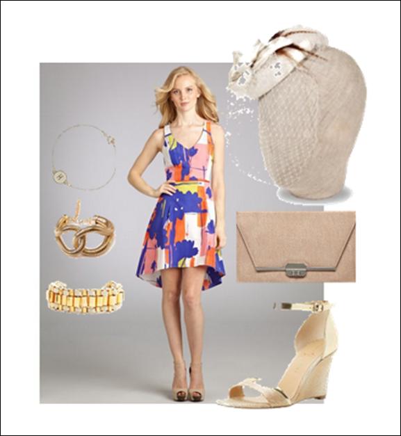 patterned derby dress and fascinator