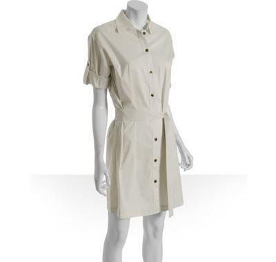 Women regular stretch poplin shirt dress