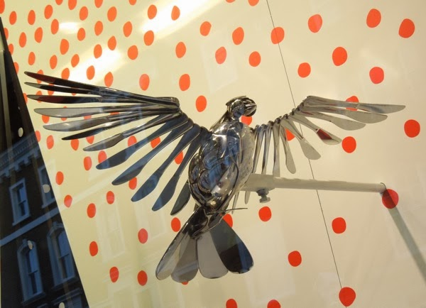 Peter Jones Christmas window display cutlery bird