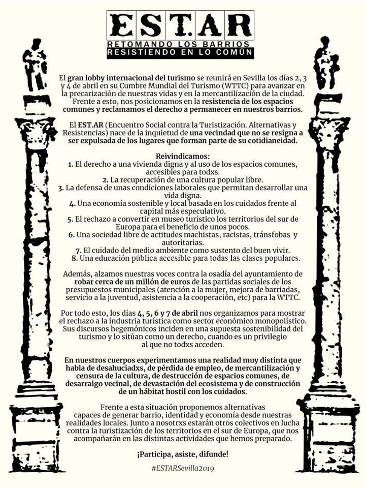 ESTAR Encuentro Social contra la Turistización:Alternativas y Resistencias.