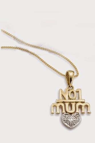 9ct Gold No.1 Mum Pendant With Diamond
