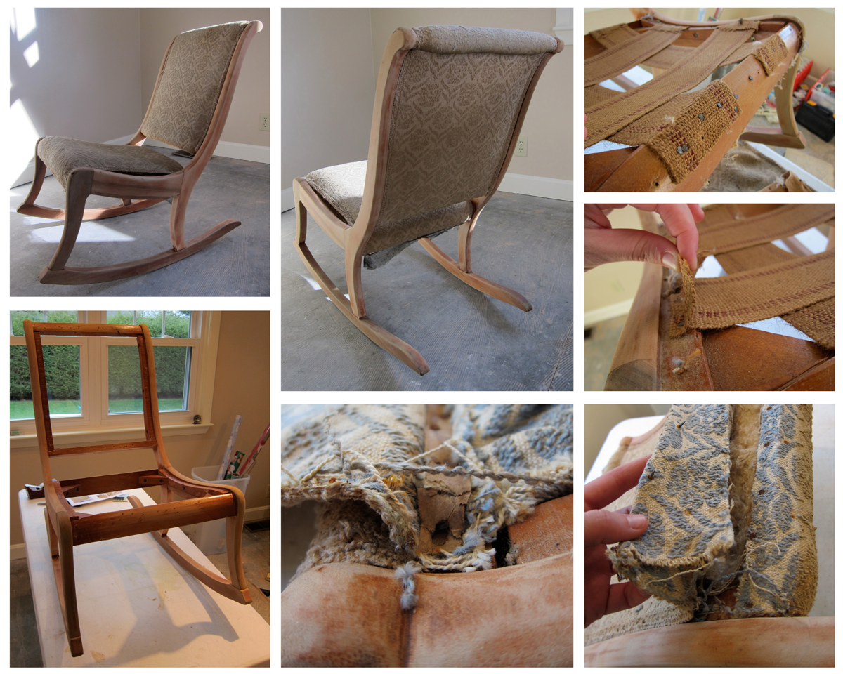 In Process Rocking Chair Repholstery