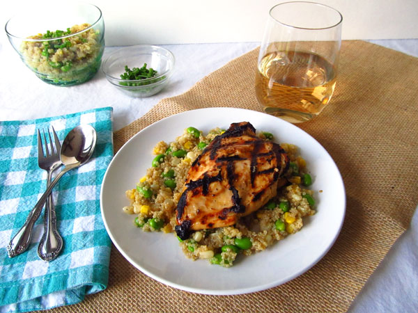 Juicy Grilled Miso Chicken with Delicious and Easy Quinoa, Edamame and Corn