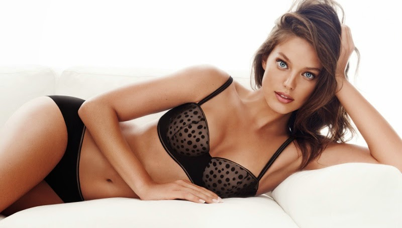 Emily DiDonato wears sexy lingerie for the H&M 2015 Valentine's Day Lookbook