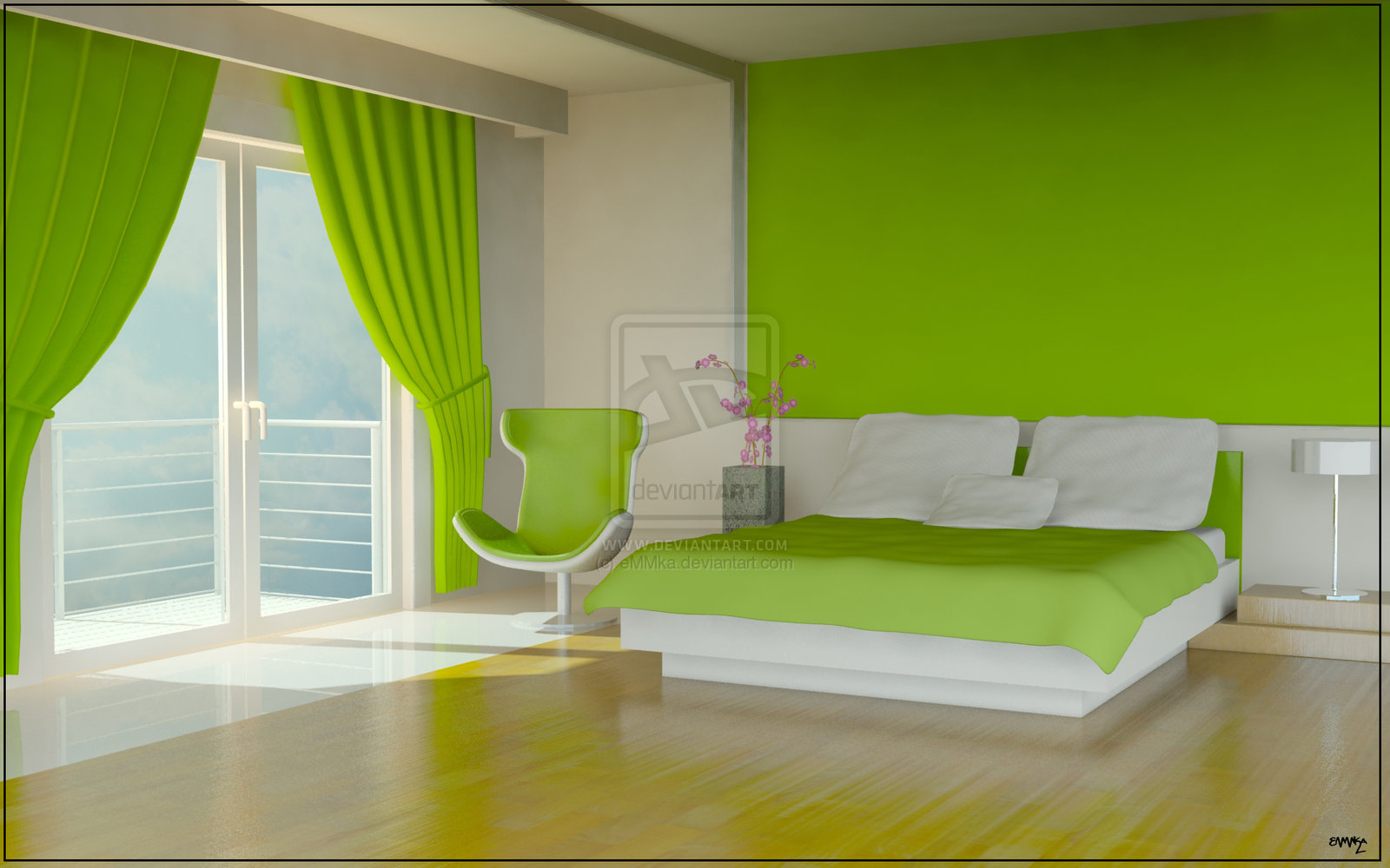 Muebles y decoraci n de interiores el color verde para for Bright green bedroom ideas