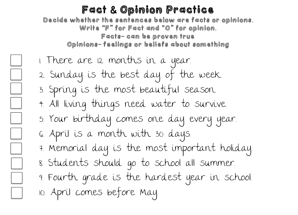 Big Apple Speech April 2014 – Fact Vs Opinion Worksheets