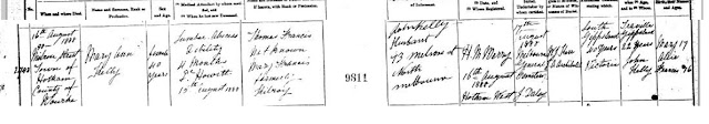 Death certificate of Mary Ann Kelly nee Francis 1888