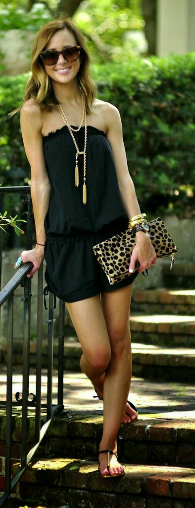 Black Ruffle Top Romper with Lepord Clutch Purse | Summer Outfits