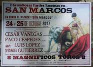 Vanegas, Cespedes, Lopez y Gutierrez, anunciados en San Marcos, Peru, 24 y 25/10.