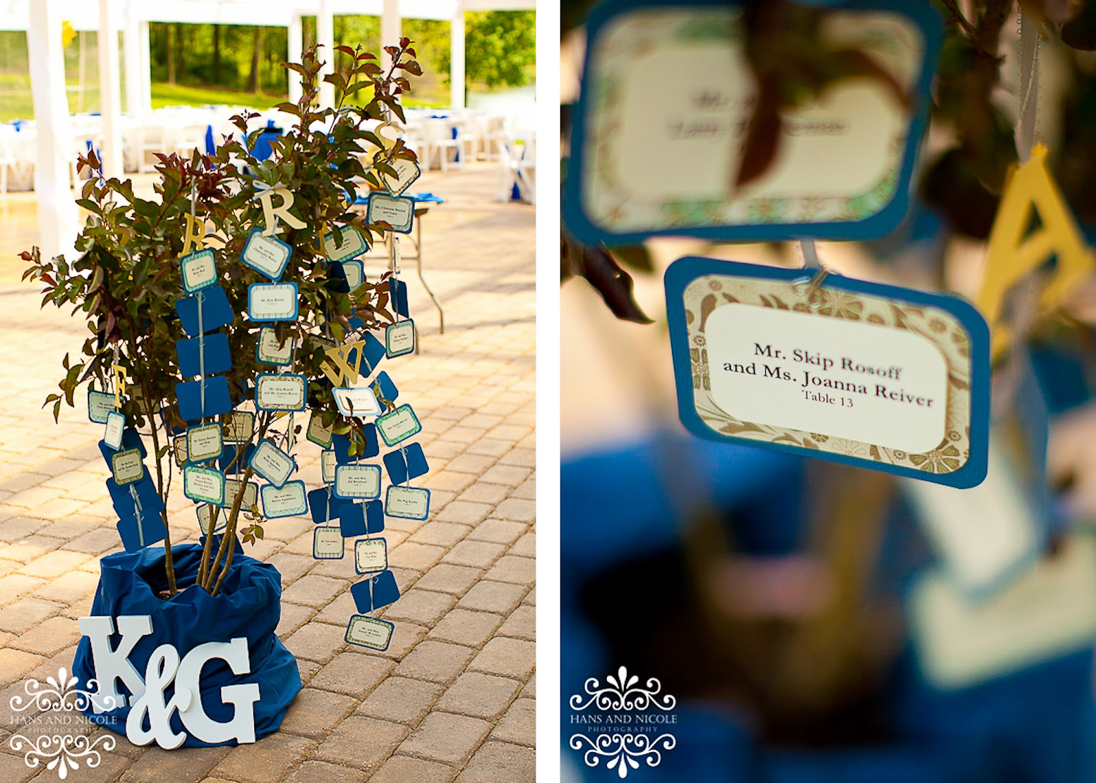 crafty wedding details at shade trees and evergreens
