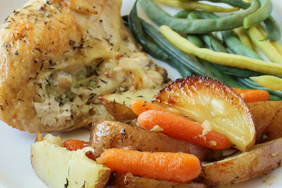 Thyme and Garlic Roasted Chicken, Potatoes and Carrots