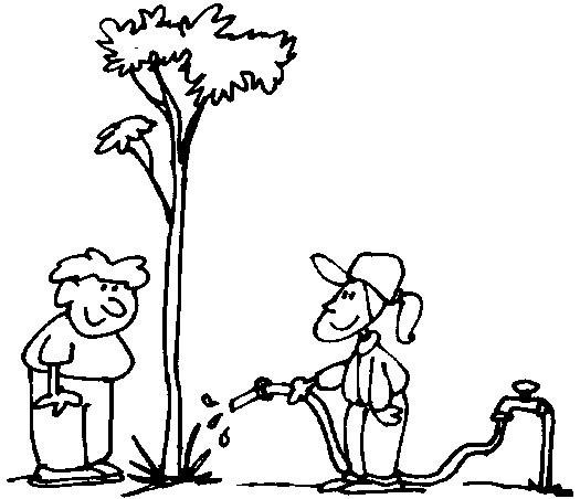 Niños regando plantas para colorear - Imagui