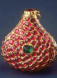 Rubíes, esmeraldas y diamantes para este perfumero del Norte de la India. 1600-1633