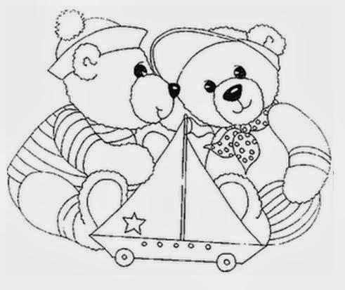 Desenhos de Ursinhos - Brincando com Barquinho - Desenhos para colorir