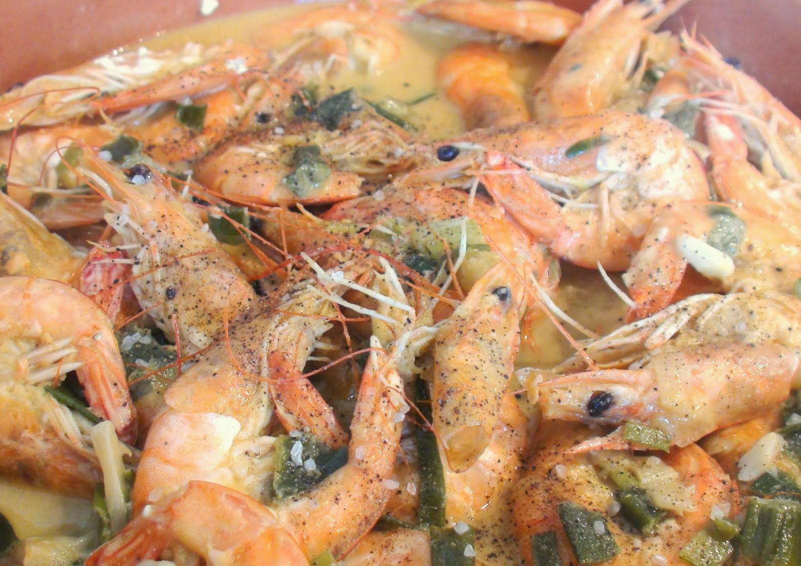Shrimps with saffron and mustard