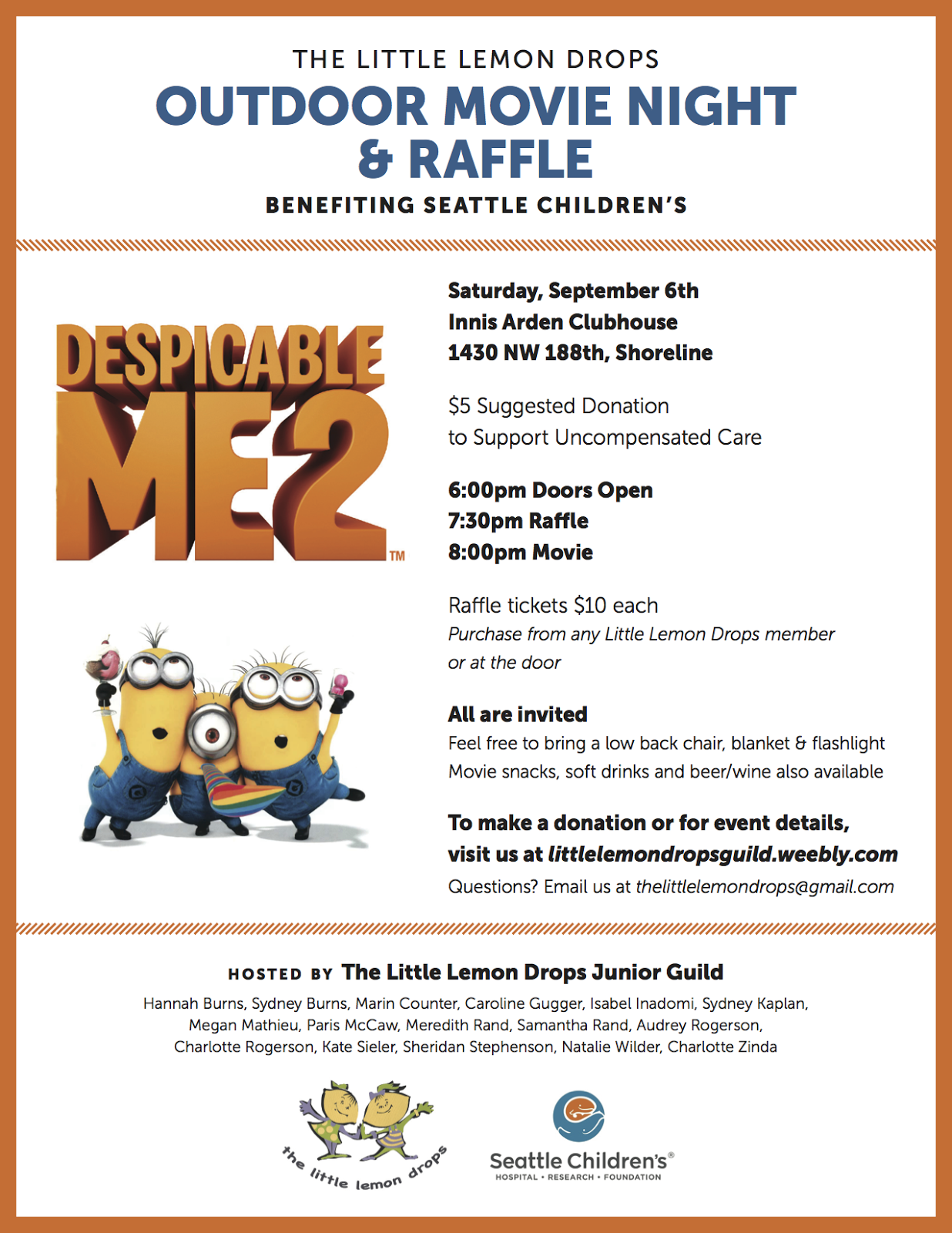 Shoreline area news 3rd annual little lemon drops outdoor movie chocolate factory tours gift card trees movie night baskets a despicable me minion cake restaurant gift certificates and so much more xflitez Images