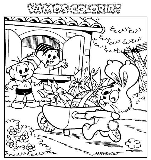desenhos colorir Feliz Páscoa da Turma da monica