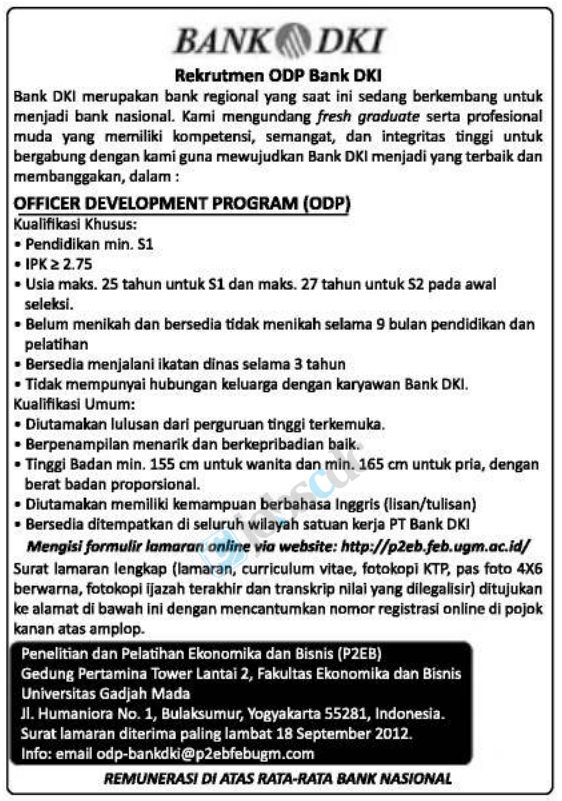 PT Bank DKI – Recruitment Officer Development Program September 2012