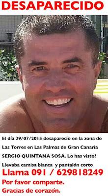 Sergio Quintana Sosa desaparecido  Las Palmas  Gran Canaria 29 julio