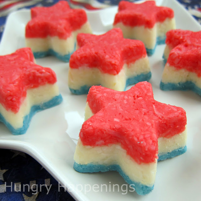 4th of july dessert red white and blue fudge stars