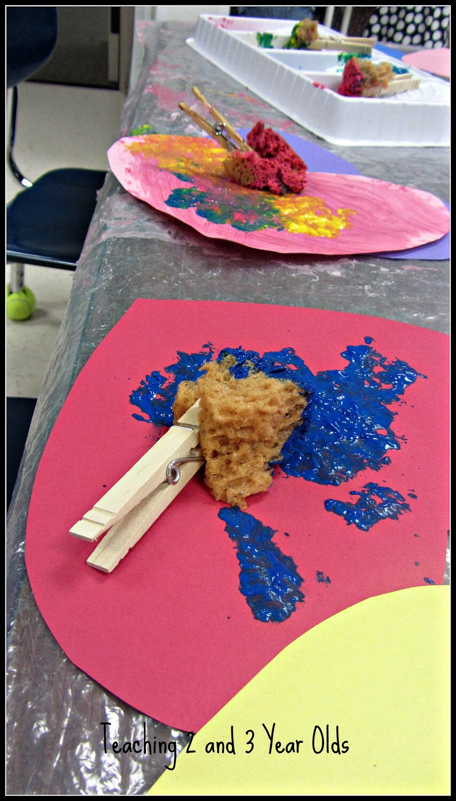 Painting With Clothespins And Natural Sponges