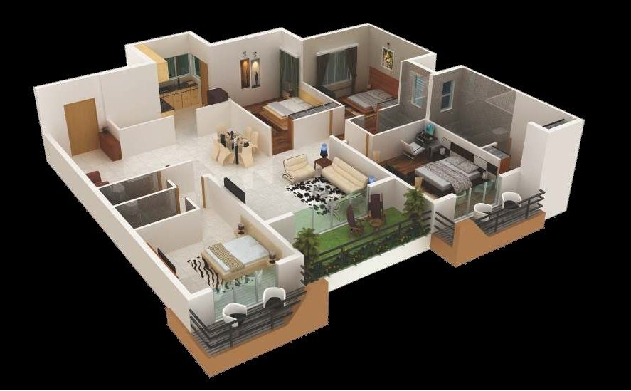 House plans 4 bedroom for 4 bedroom house designs 3d