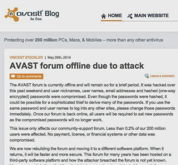 Avast Anti-Virus forum Hacked