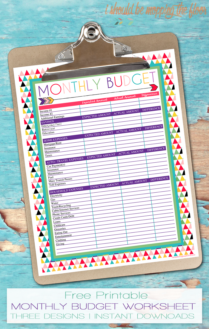 i should be mopping the floor free printable monthly budget worksheet