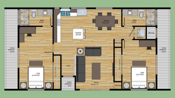 fachada y plano de casa habitacin estilo minimalista de un nivel con dos dormitorios o recamaras