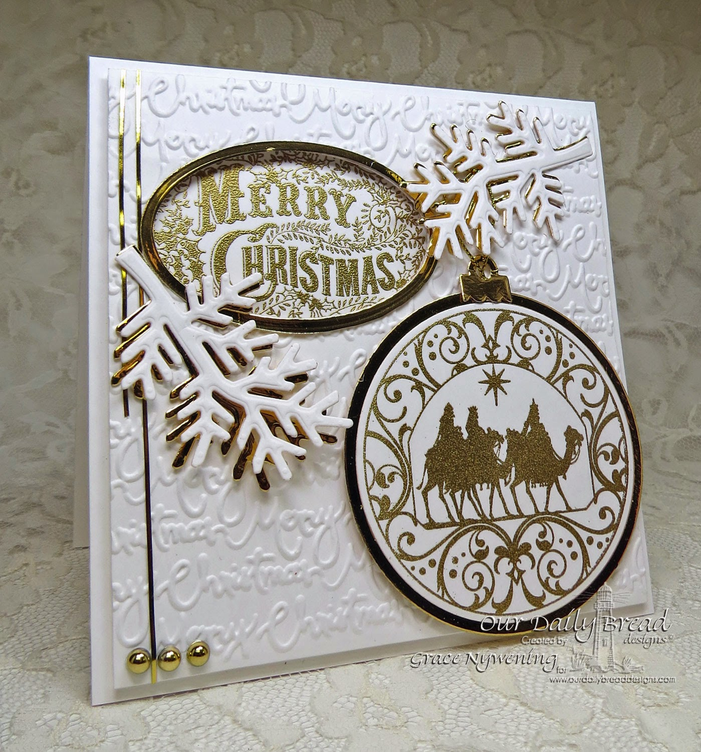 ODBD stamps: Merry Christmas Ornament, Wisemen Ornament, designed by Grace Nywening