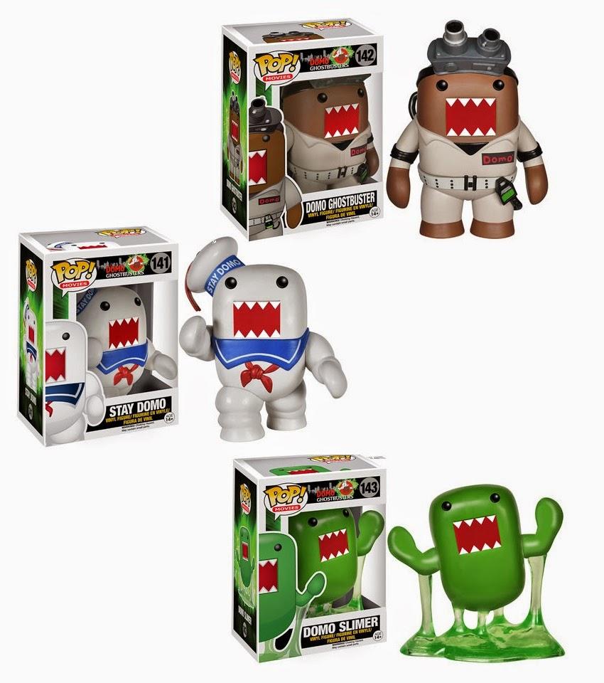 Ghostbusters x Domo Pop! Vinyl Figures by Funko - Ghostbusters Domo, Stay Puft Domo & Slimer Domo