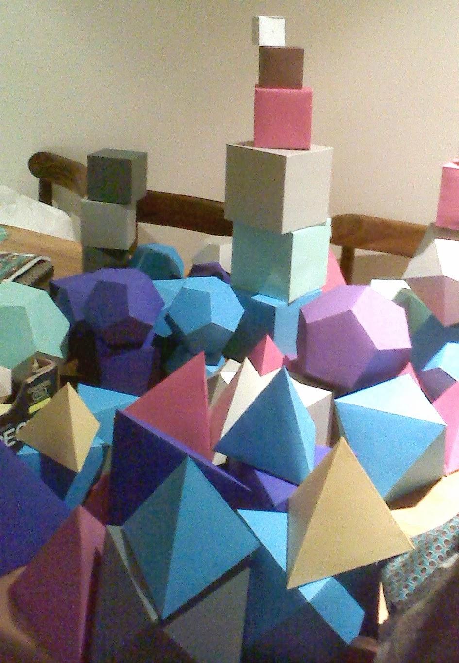 geometric shapes hand folded