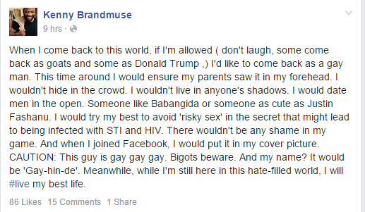 Kenny Brandmuse Says He will Return To This World A Gay Man