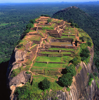 Aerial view photo, Sigiriya rock plateau, Lion Rock, Sri Lanka, ancient fortress, palace ruin