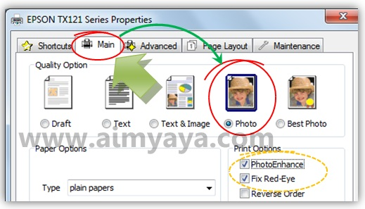 Gambar: Contoh cara mengatur properties / setting printer Epson TX121 agar mendapatkan kualitas print yang lebih baik